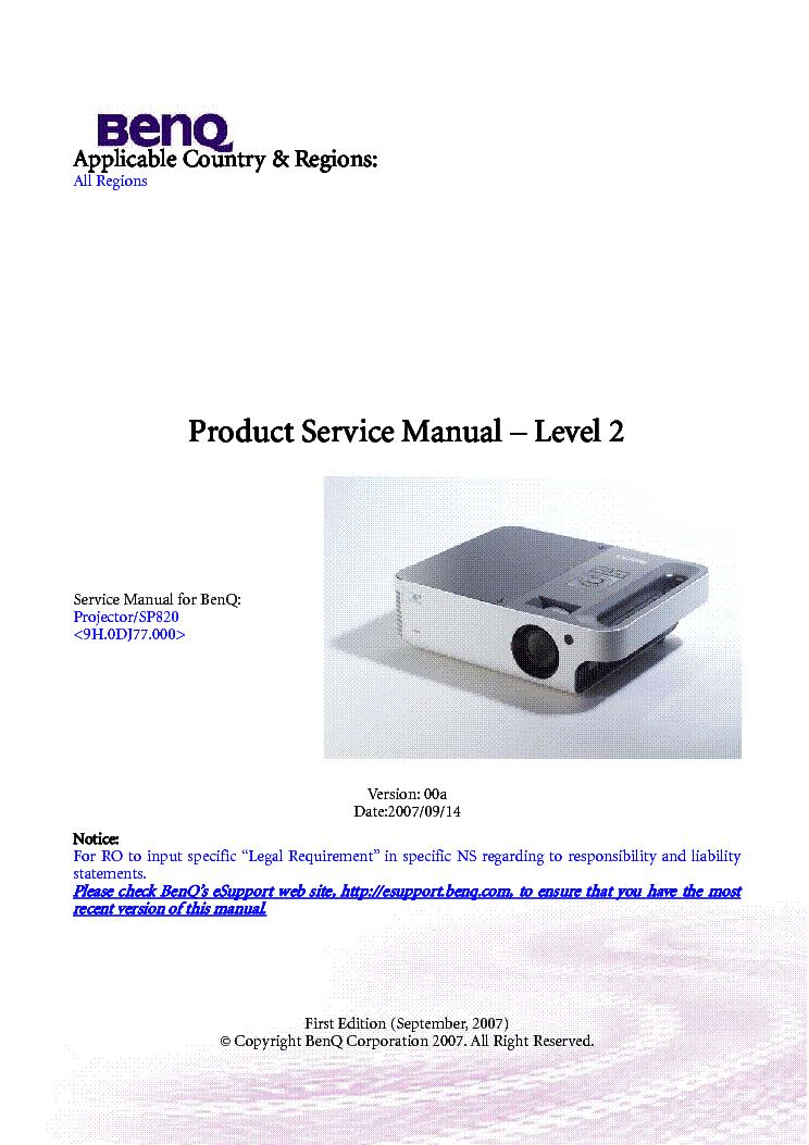 BENQ CP220 Service Manual download, schematics, eeprom