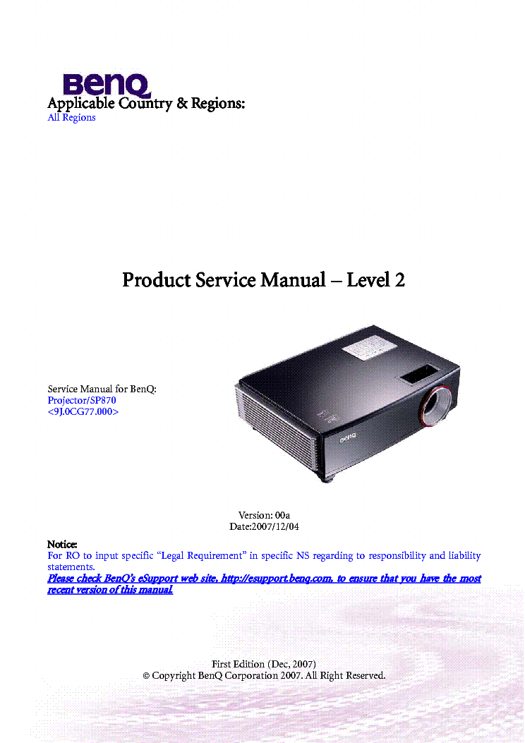 benq sp870 level2 ver 00a projector service manual