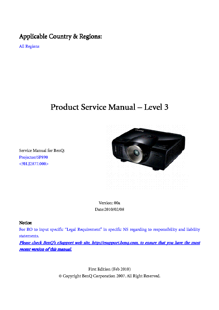 benq sp890 20120905 170725 ver 00a level3 service manual download rh elektrotanya com benq projector w700 manual benq projector w700 manual