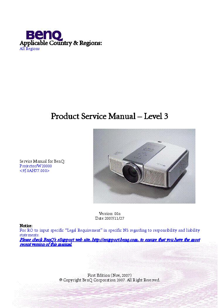benq w20000 ver 00a level3 service manual download schematics rh elektrotanya com benq projector w700 manual benq w700 manuale italiano