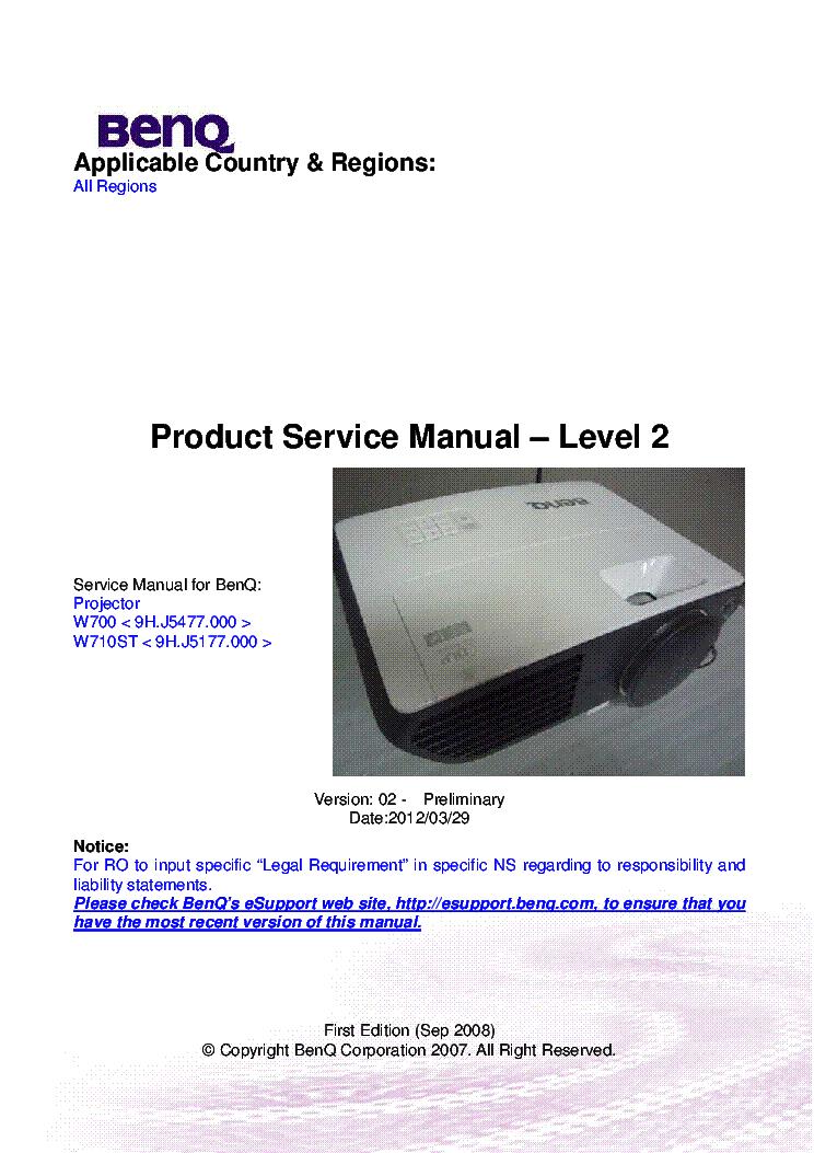 benq w700 w710st ver 02 level2 service manual download schematics rh elektrotanya com benq w700 service manual benq w700 user manual
