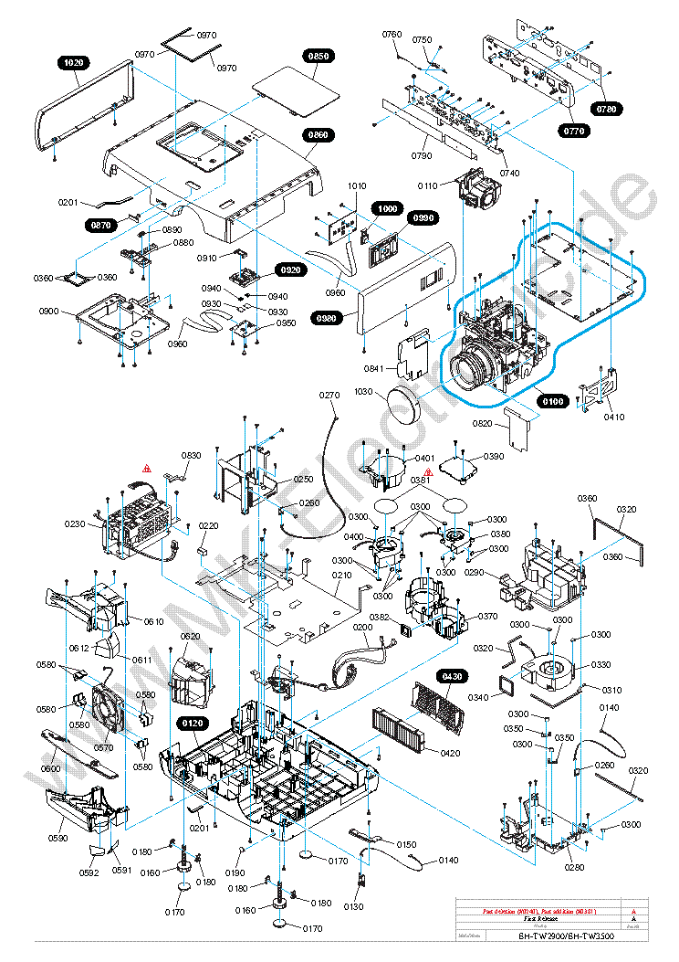 EPSON EH-TW3500 PARTS Service Manual download, schematics