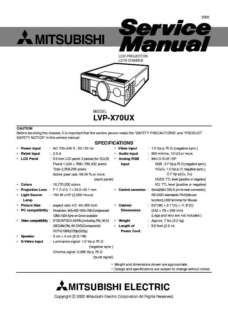 mitsubishi lvp x70ux v10 service manual download schematics eeprom rh elektrotanya com Mitsubishi Projector Parts Mitsubishi Projector Replacement Lamps