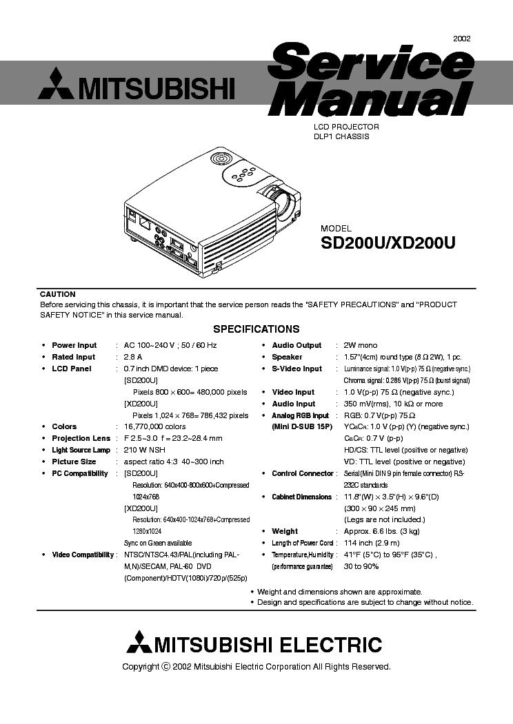 mitsubishi sd200u xd200u service manual download schematics eeprom rh elektrotanya com Mitsubishi Projectors Homepage Mitsubishi Projector Parts