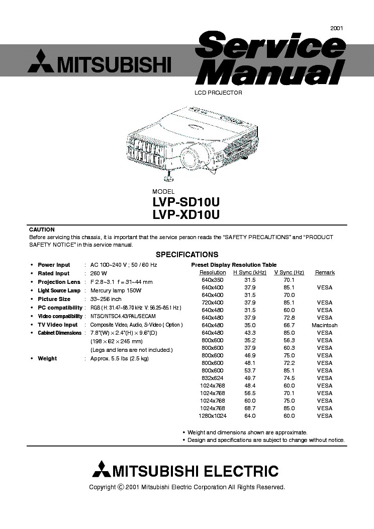 mitsubishi sl4su xl5u service manual download schematics eeprom rh elektrotanya com Mitsubishi Projector Lamps Mitsubishi Projector Parts