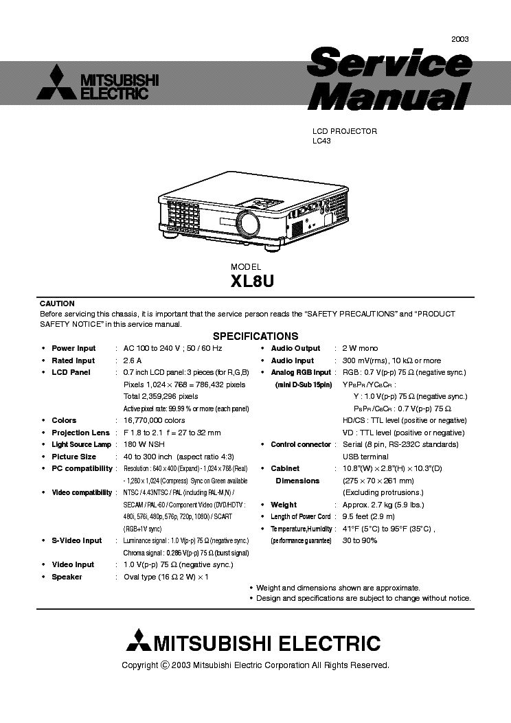 mitsubishi xl8u service manual download schematics eeprom repair rh elektrotanya com Mitsubishi Projector Bulbs Mitsubishi Projector Parts