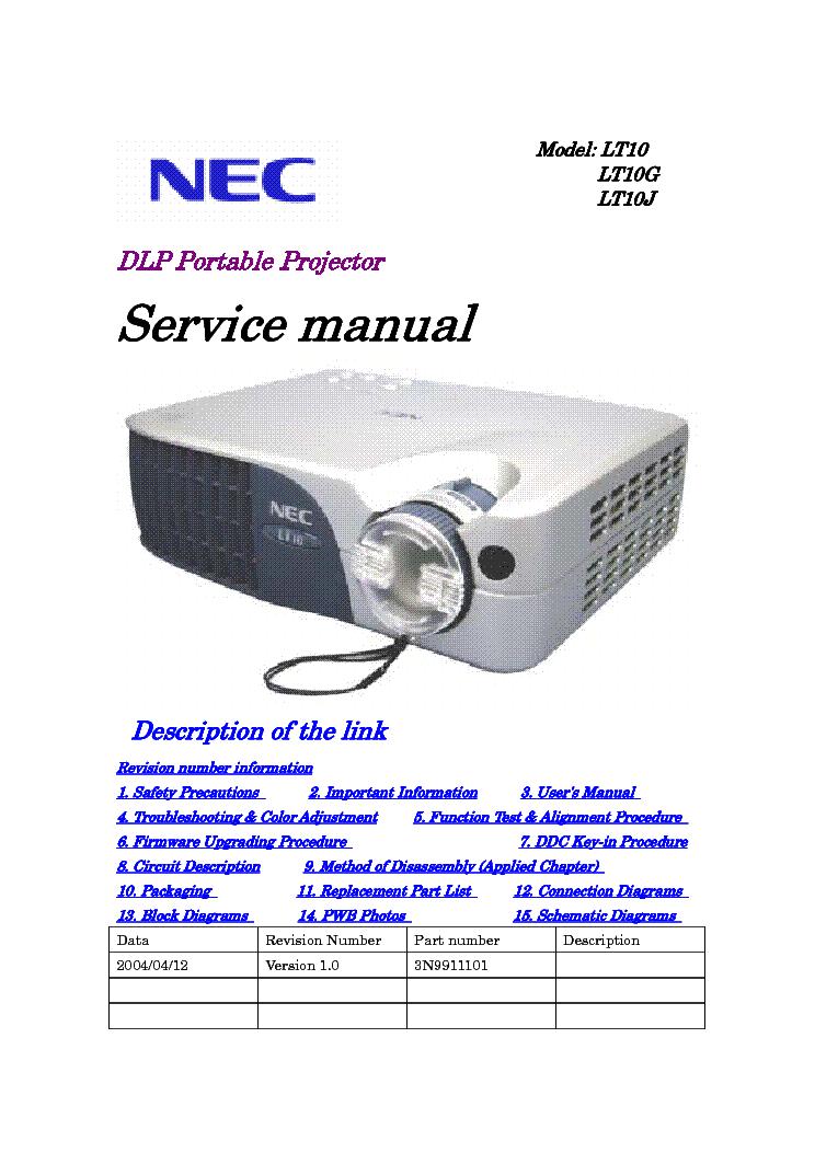 nec lt10 sm service manual download schematics eeprom repair info rh elektrotanya com nec m230x projector service manual NEC Projector Ports