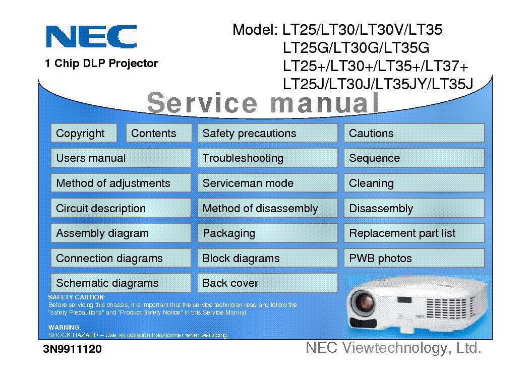 nec lt25 lt30 lt30v lt25g lt25j lt30j lt35jy lt35j service manual rh elektrotanya com NEC LT380 Projector Manual PDF NEC Projector Ports