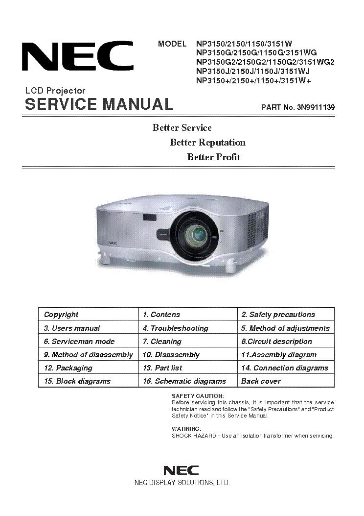 nec np1150 np2150 np3150 np3151 service manual download schematics rh elektrotanya com nec projector service manual NEC LT380 Projector Manual PDF