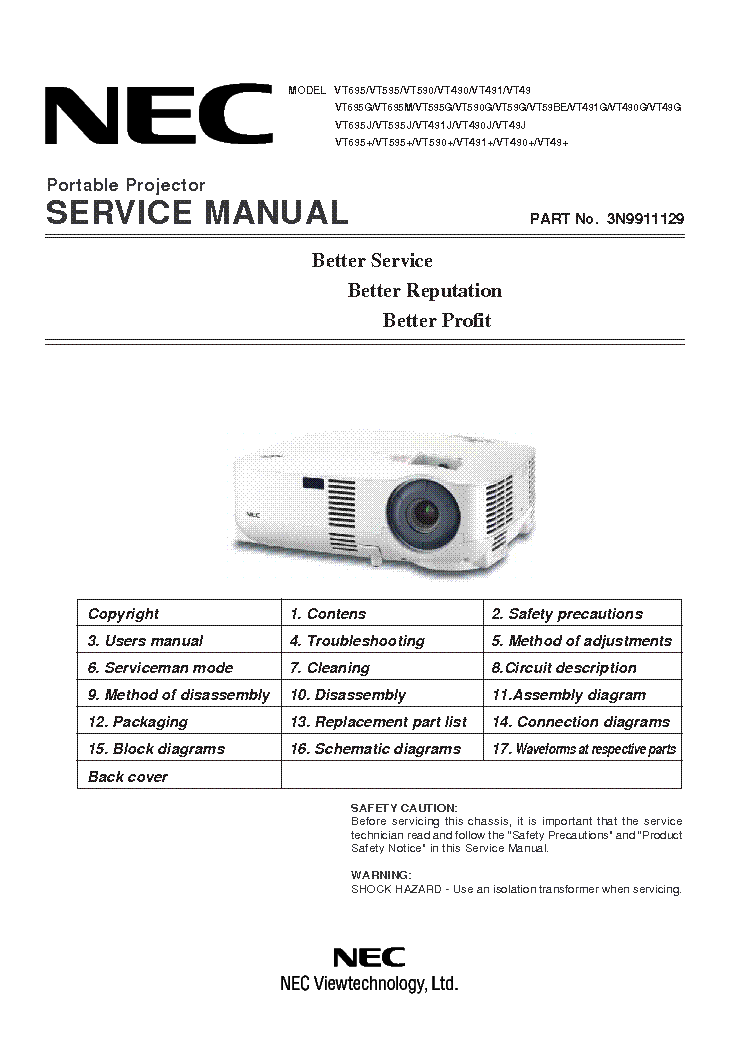 nec vt695 vt595 vt590 vt490 vt491 vt49 service manual download rh elektrotanya com NEC VT695 Lamp Cover NEC VT595 Projector