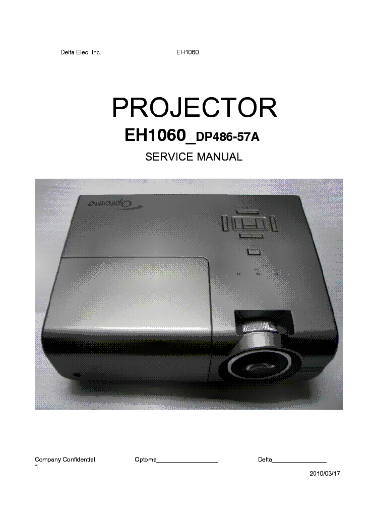 Service Manual For optoma Projector mini How to use