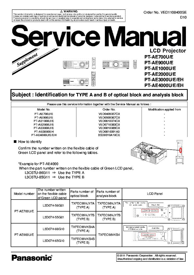 Panasonic pt ae900u service manual.
