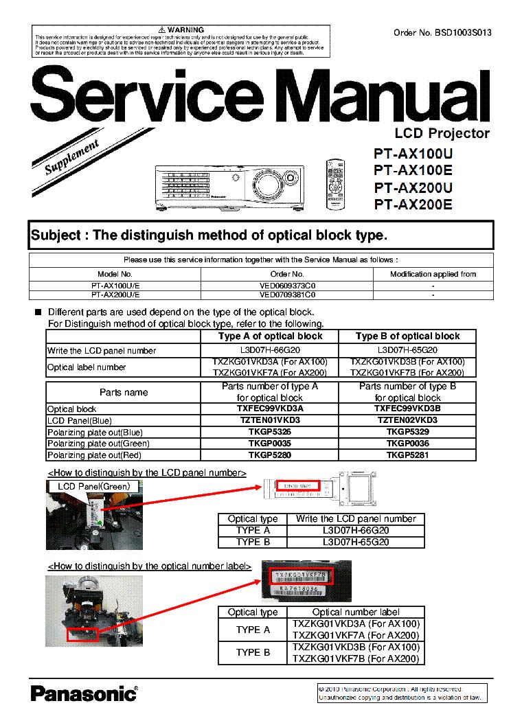 panasonic pt ax100u pt ax100e pt ax200u pt ax200e supplement service rh elektrotanya com pt-ax200u manual pdf panasonic projector pt-ax200u manual