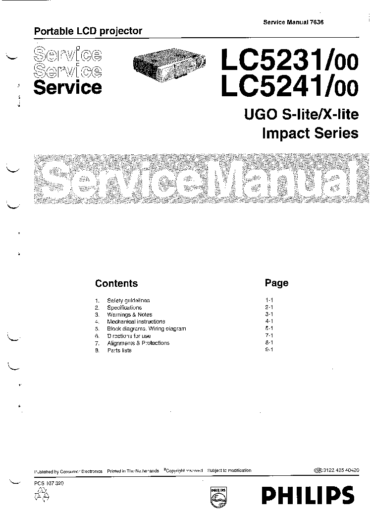 philips prm8020 service manual