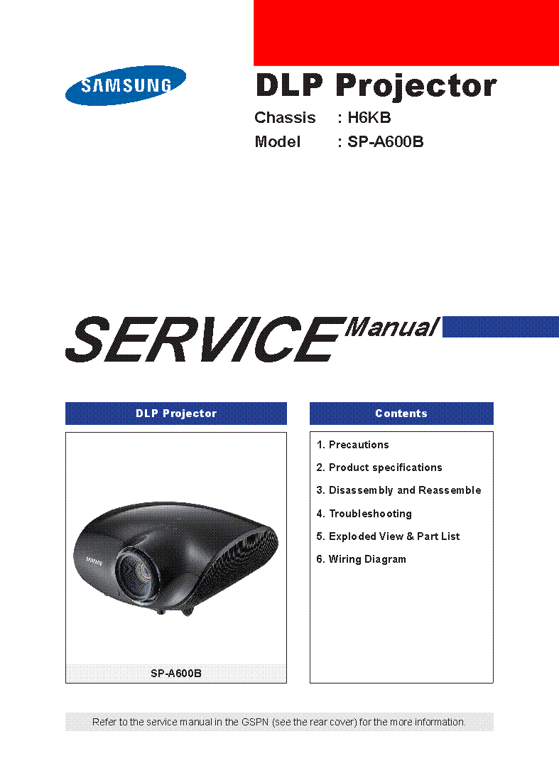 Samsung Sp A600b Chassis H6kb Sm Service Manual Download Schematics General Washing Machine Wiring Diagram Free 1st Page