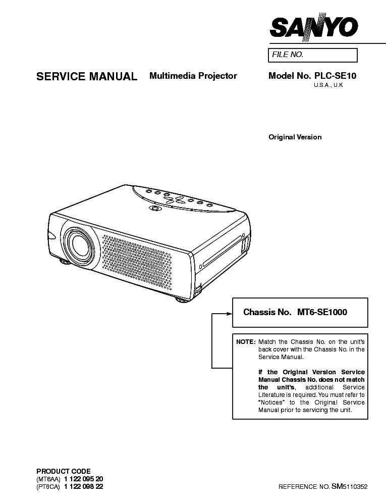 sanyo plc se10 lcd projector service manual download schematics rh elektrotanya com Sanyo Projector Problems Sanyo XGA Projector Manual
