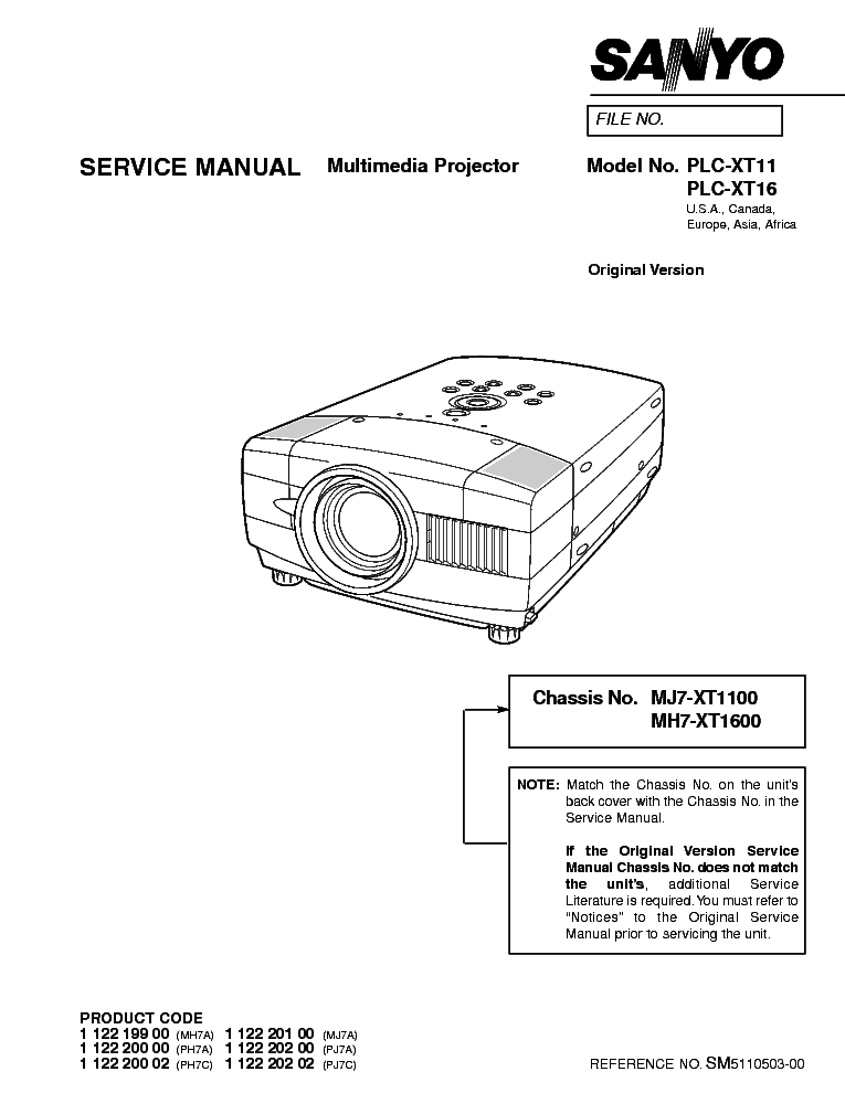 sanyo plc xu50 plc xu55 multimedia projector service manual download