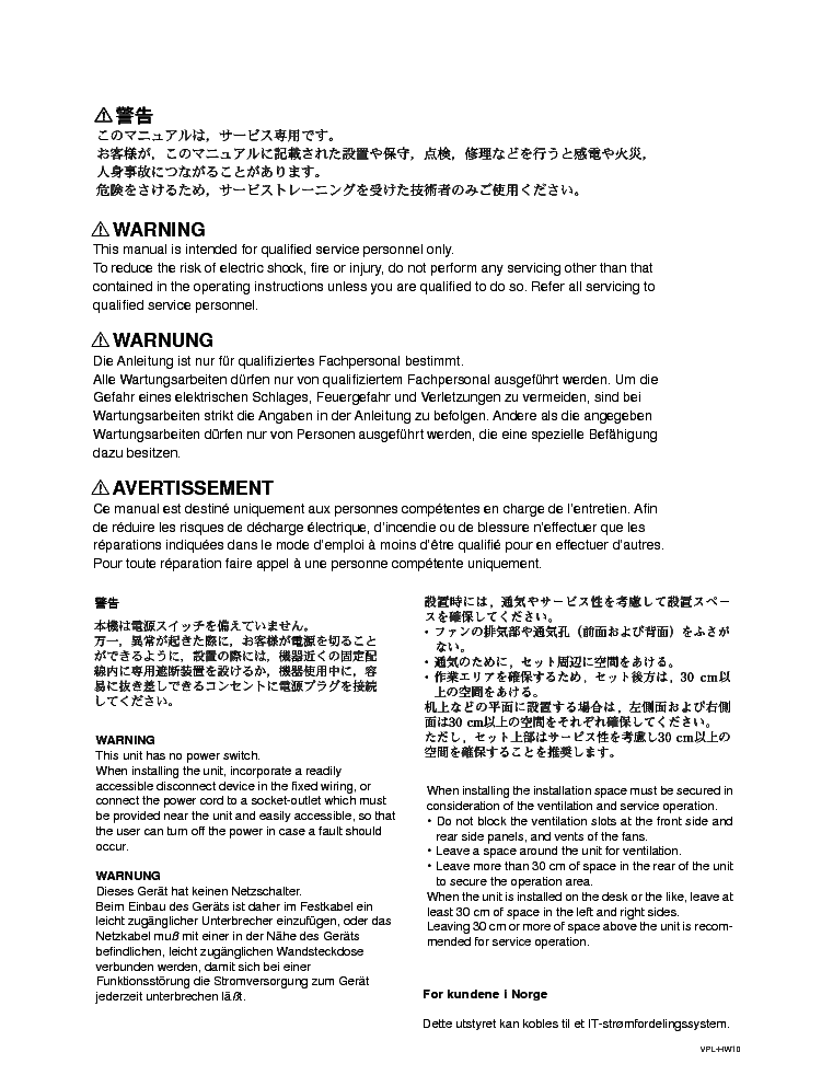 SONY VPL-HW10 HW15 SM service manual (2nd page)