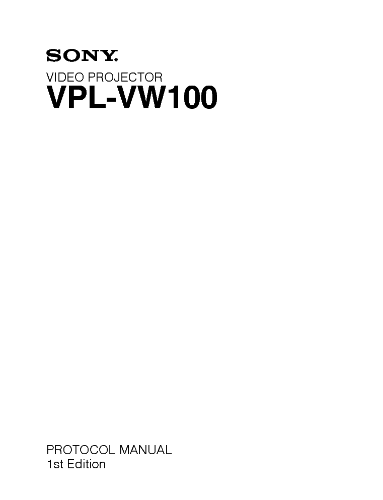 SONY VPL-VW100 service manual