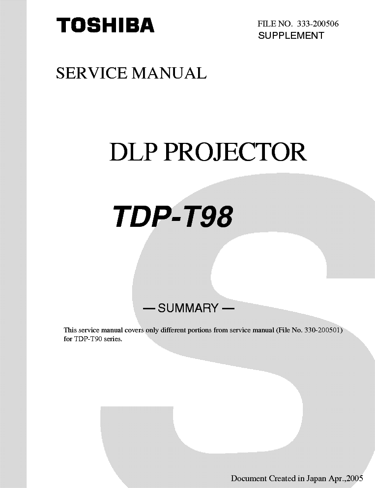 toshiba tdp t98 service manual download schematics eeprom repair rh elektrotanya com 62 Toshiba TheaterWide HD 62 Toshiba TheaterWide HD