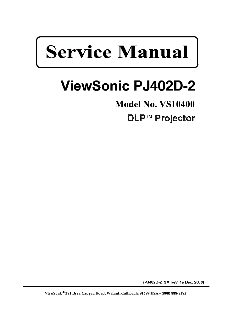 viewsonic pj402d 2 vs10400 sm service manual download schematics rh elektrotanya com ViewSonic PJD2121 DLP Projector Epson Projector