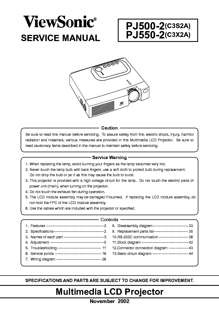 Viewsonic Pjd6211 Vs12618 Service Manual Download border=