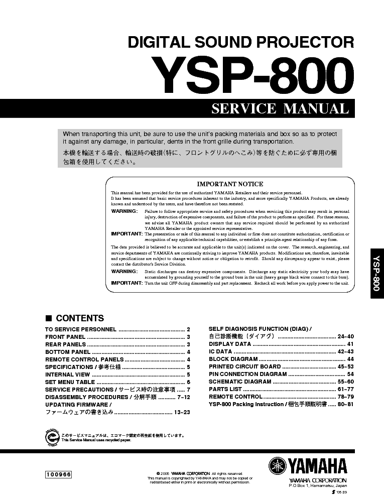Yamaha Ysp Service Manual