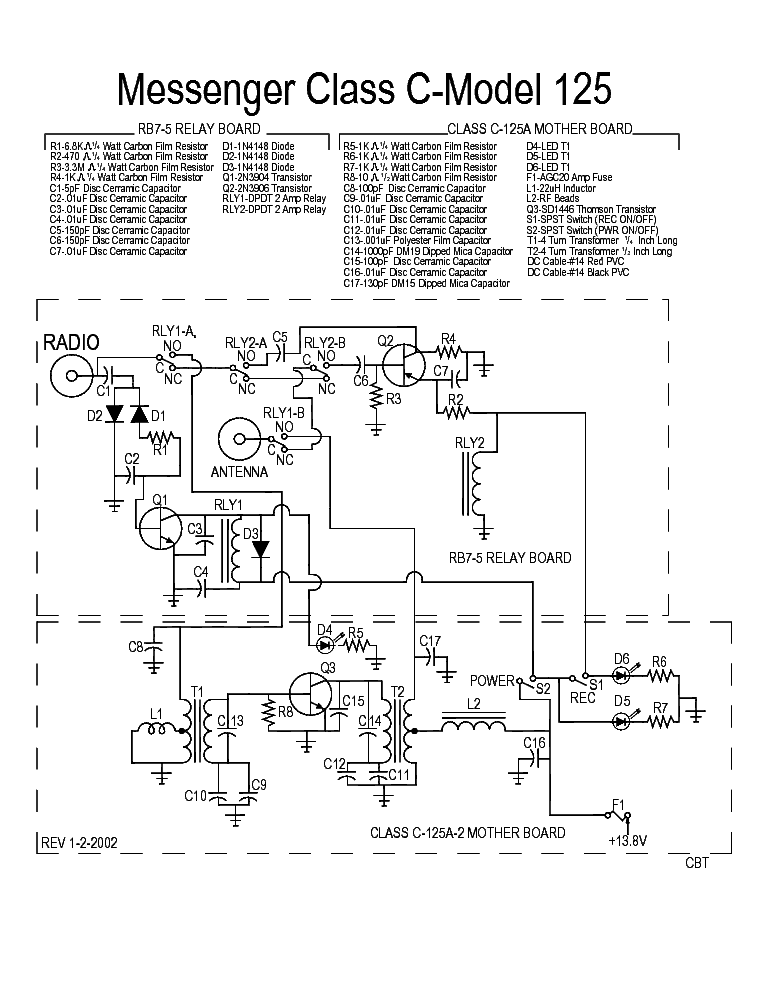 Messenger Class C Model 125 Sch Service Manual Download Schematics