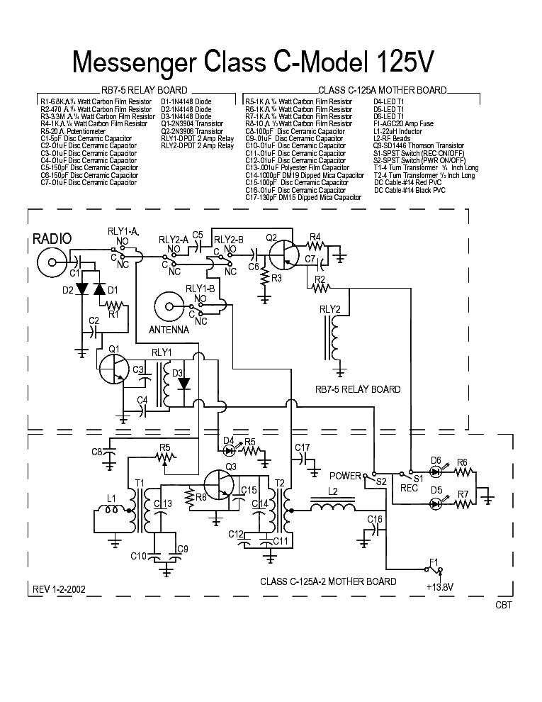 Messenger Class C Model 125v Sch Service Manual Download Schematics