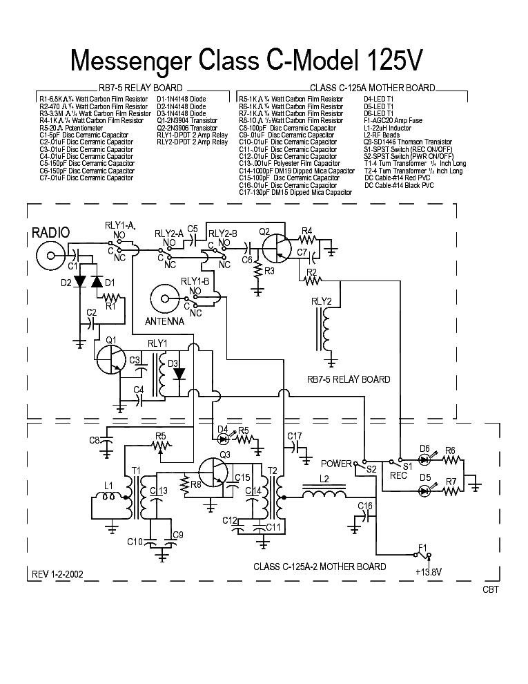 Messenger Class C Model 125v Sch Service Manual Download Schematics