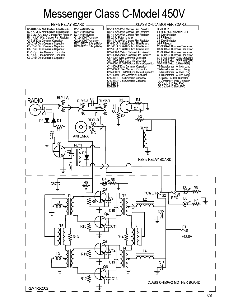 Messenger Class C Model 450v Sch Service Manual Download Schematics