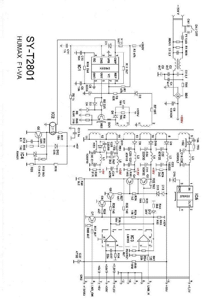 humax f1 va sat sy t2801 psu sch service manual download  schematics  eeprom  repair info for