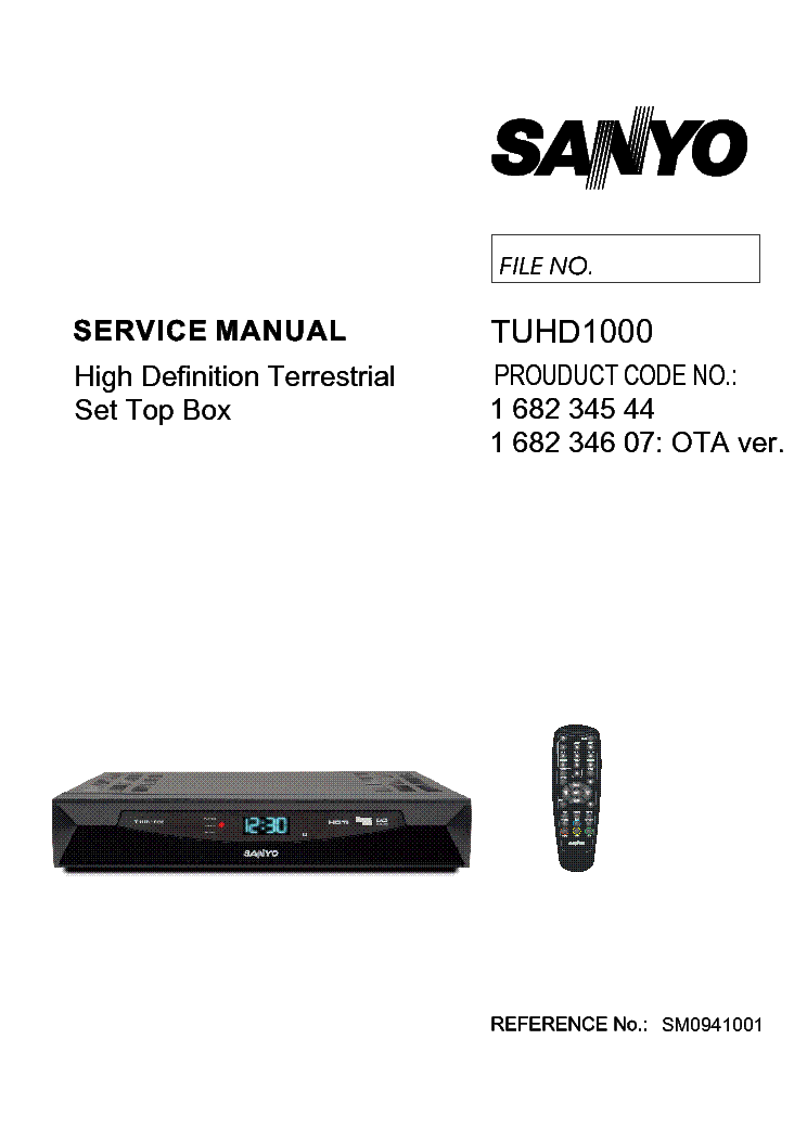 SANYO TUHD1000 SET TOP BOX SM Service Manual download, schematics