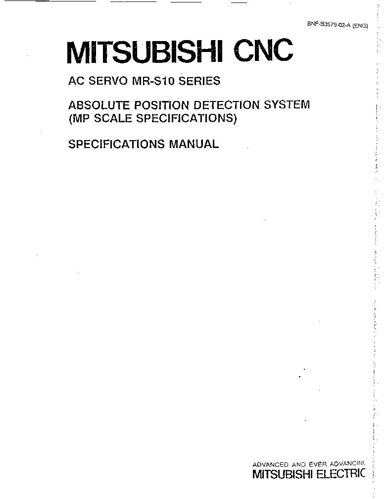 MITSUBISHI MELDAS MR-S10 SERIES AC-SERVO MP-SCALE SPECIFICATIONS service  manual (