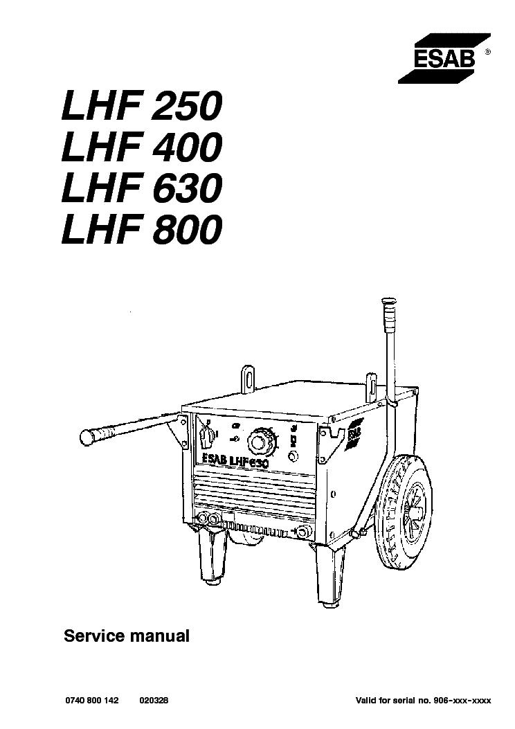esab lhf 250 lhf 400 lhf 630 lhf 800 hegesztogep sm service manual rh elektrotanya com Esab TIG Welder Mig Welder