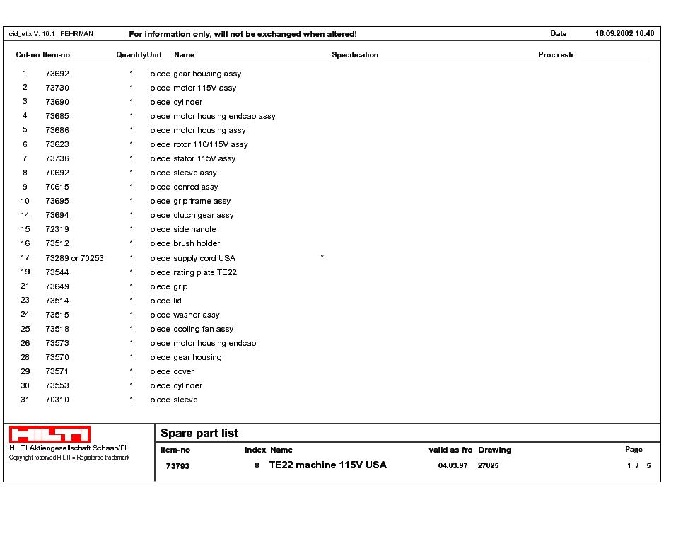 hilti te22 service manual download schematics eeprom repair info rh elektrotanya com Parts Manual Auto Repair Manual