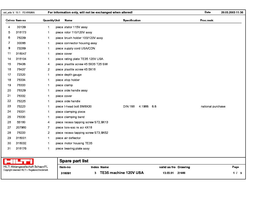 hilti te35 service manual download schematics eeprom repair info rh elektrotanya com Hilti Tools Hilti Tools