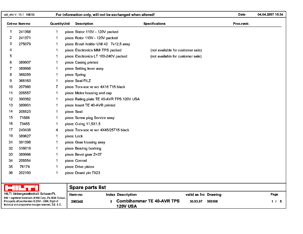 Hilti Te40 Avr Service Manual Download  Schematics  Eeprom