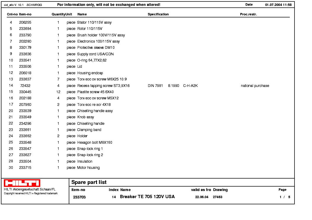 hilti te 805 service manual