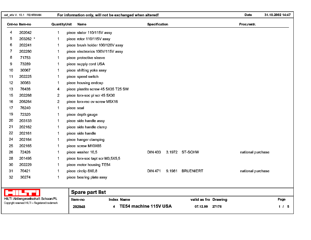 hilti te 54 repair manual user guide manual that easy to read Hilti Te76 Hilti TE 60 Parts
