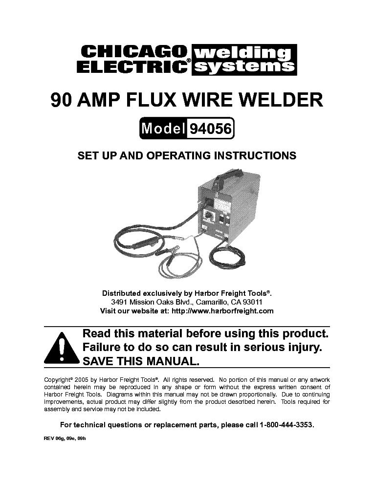 Chicago Electric Welding System Model 94056 90 Amp Flux