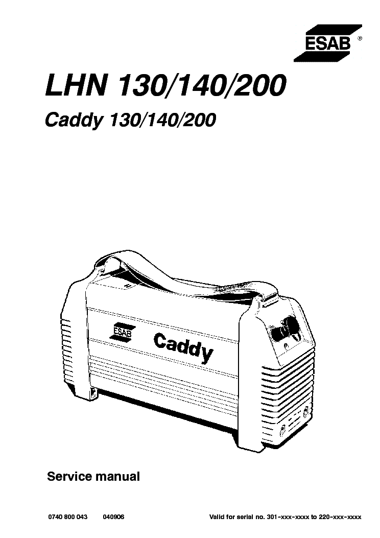 Esab Lhn 130 140 200 Caddy Service Manual Download