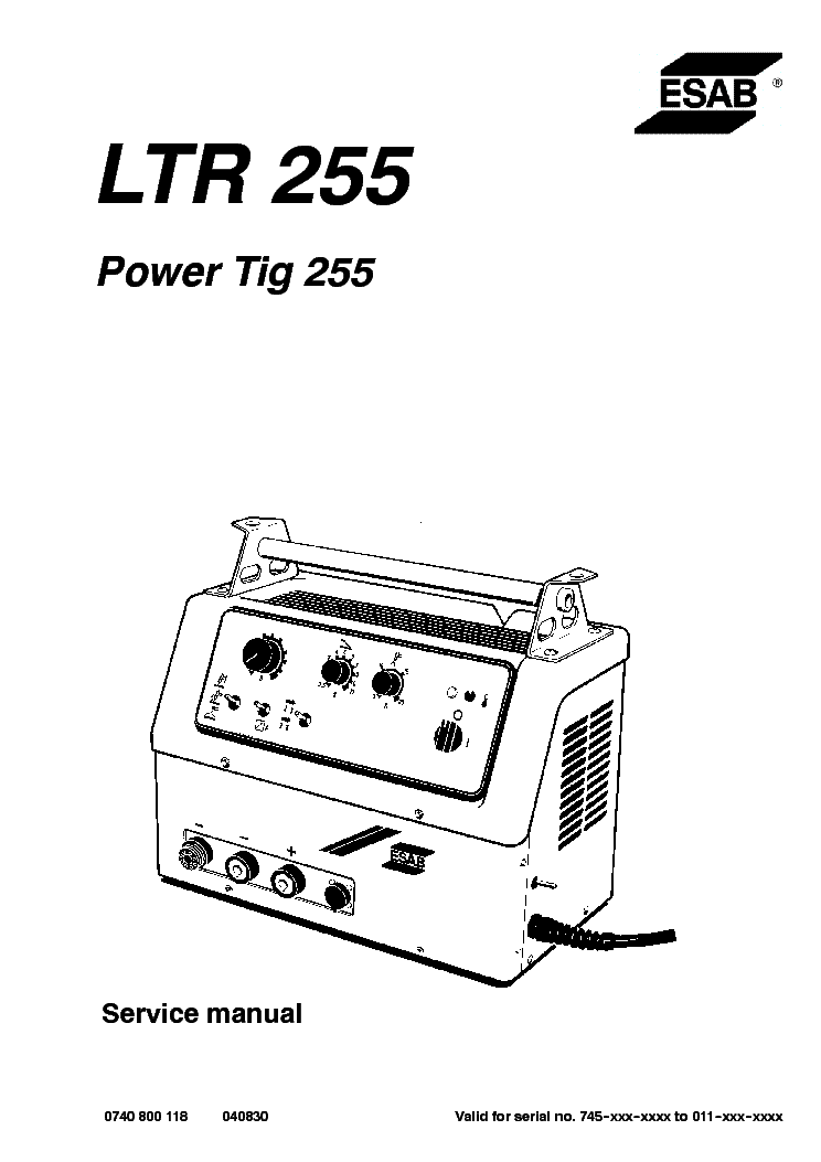 ESAB LTR 255 POWER TIG 255 service manual (1st page)