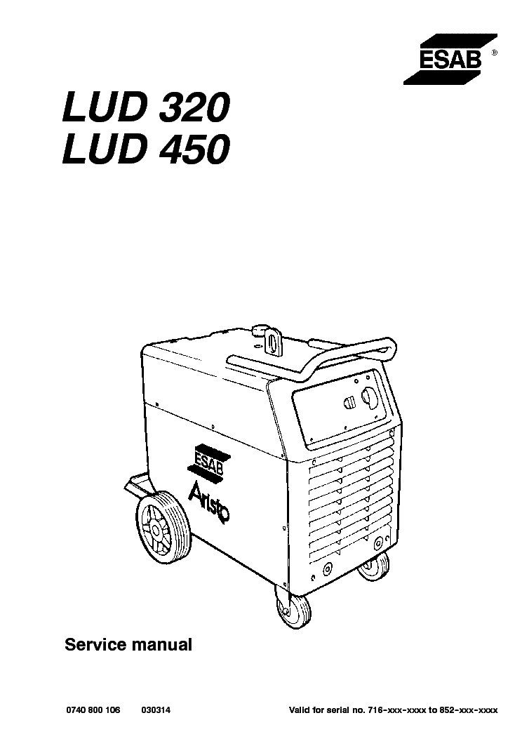 esab lud 320 lud 450 aristo 320 aristo 450 service manual download  schematics  eeprom  repair