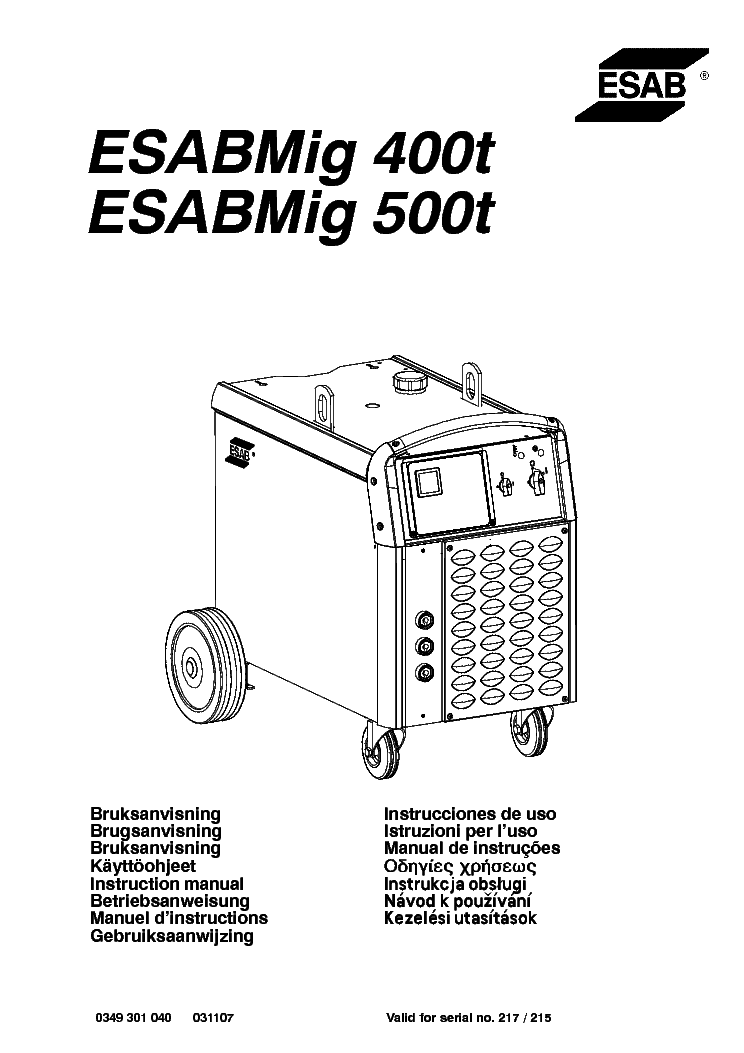 esab mig 400t 500t sm service manual download schematics eeprom rh elektrotanya com Esab TIG Welder Esab Mig Tocha