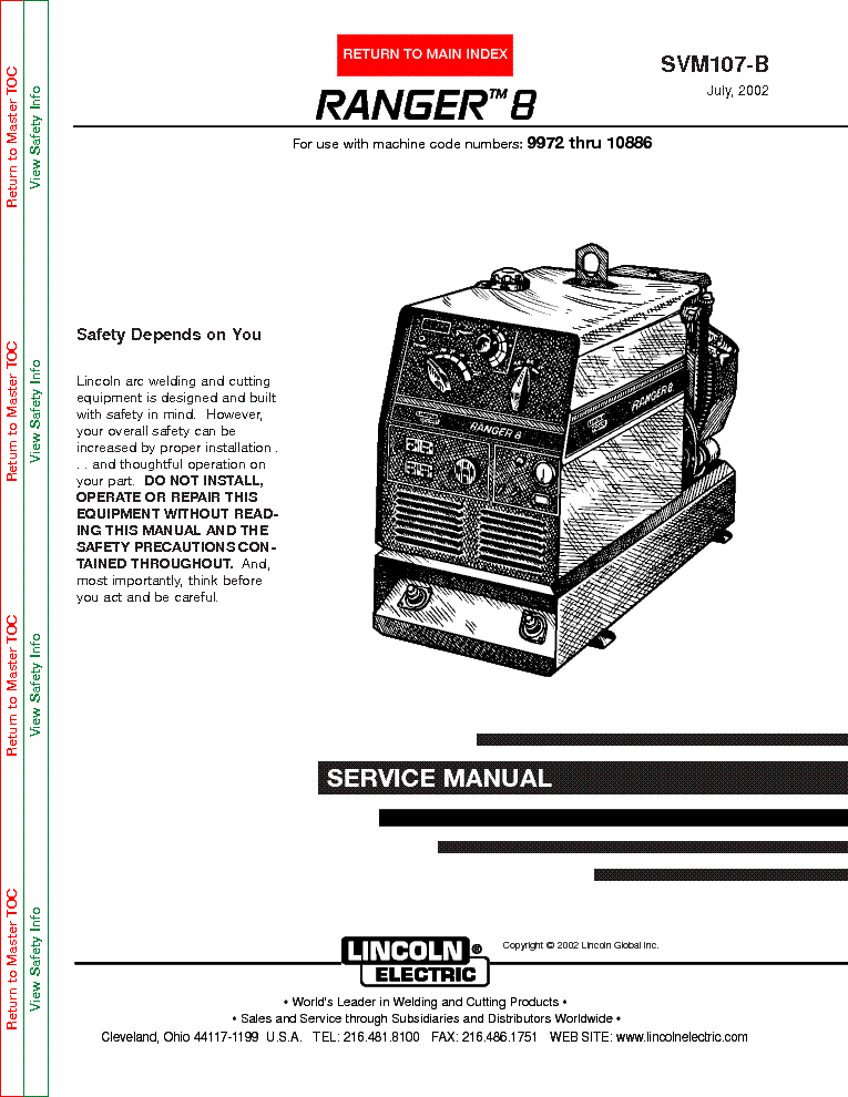 lincoln electric svm107-b ranger 8 service manual (1st page)