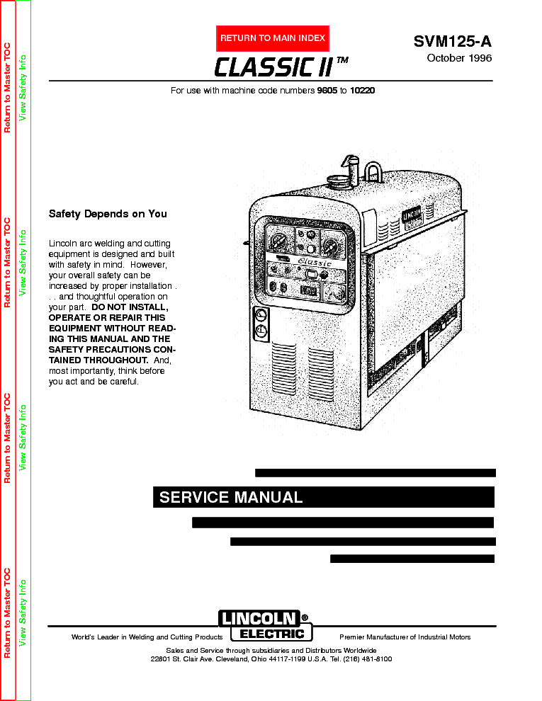 LINCOLN ELECTRIC SVM125-A CLASSIC II service manual
