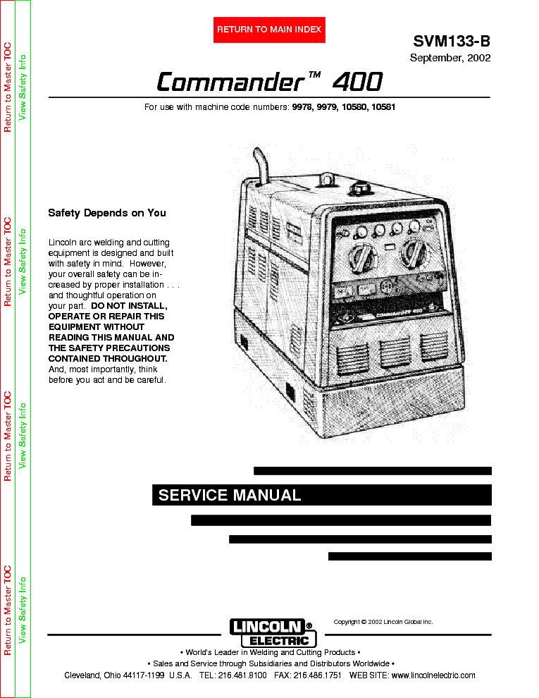 lincoln electric svm107 b ranger 8 service manual lincoln