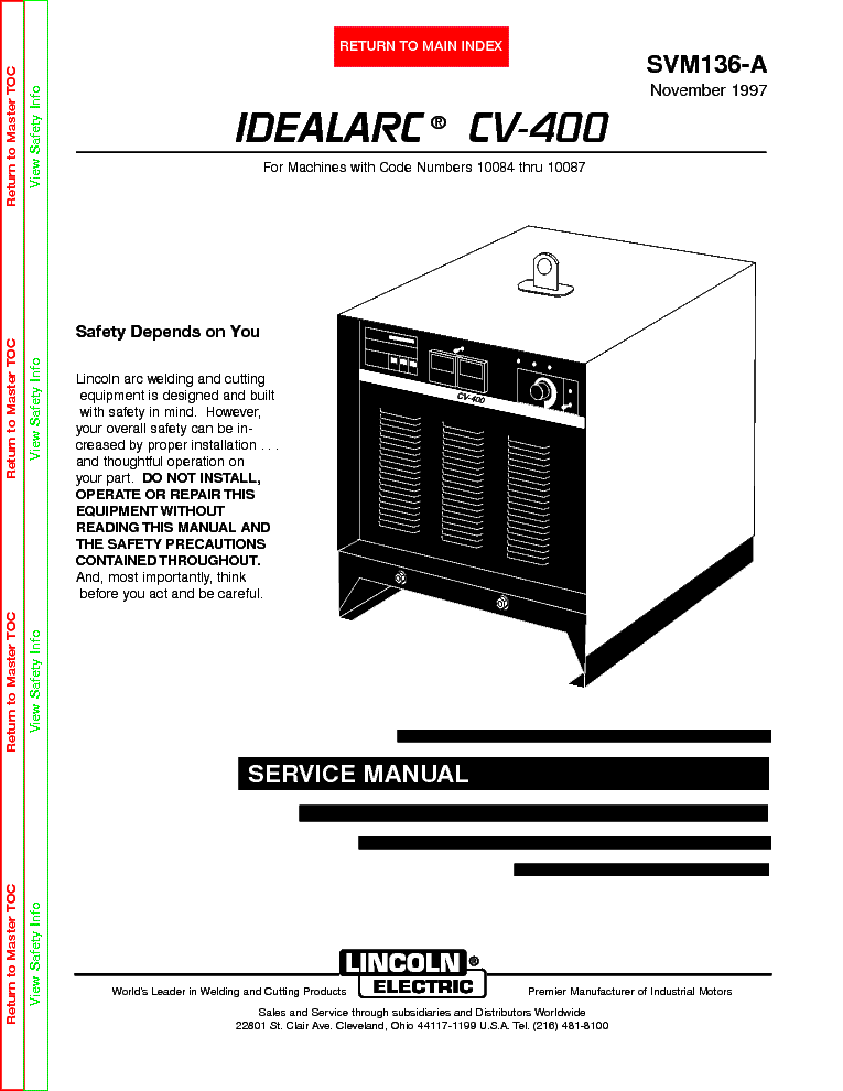 lincoln electric svm136 a idealarc cv 400 service manual lincoln electric svm136 a idealarc cv 400 service manual