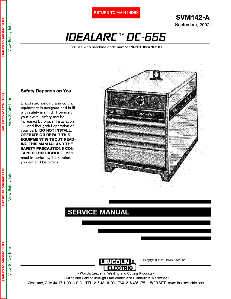 LINCOLN ELECTRIC SVM142A IDEALARC DC655 Service Manual download – Lincoln Idealarc Wiring Diagram